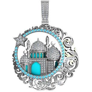 Медальон  серебряный  Мусульманская Мечеть с эмалью 411340