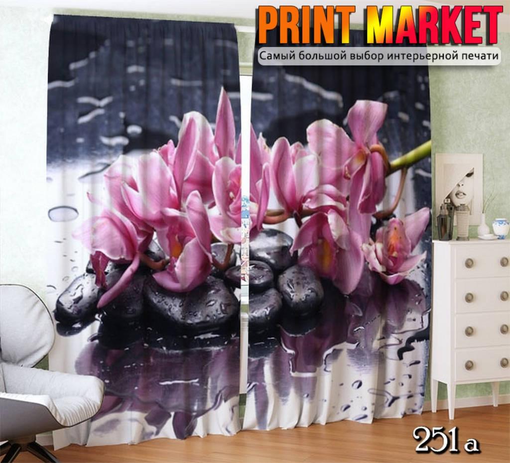 Фотошторы орхидея на стекле