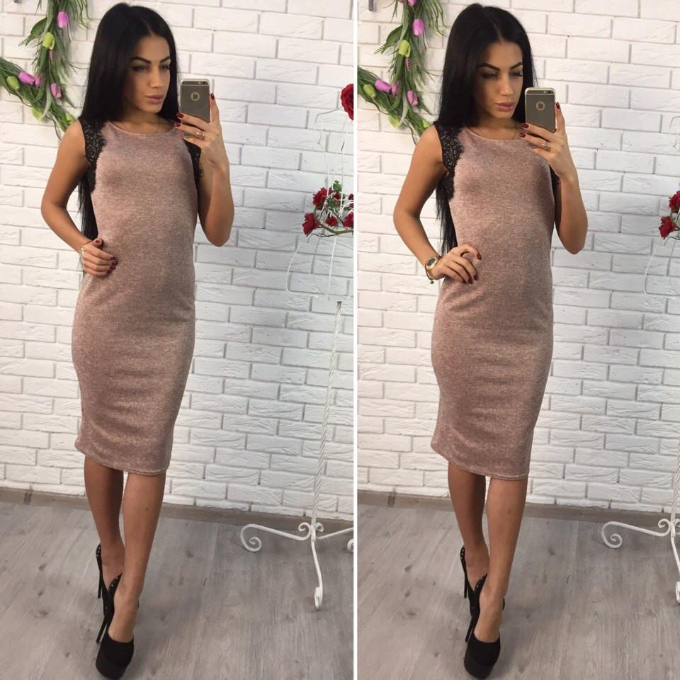 Платье красивое с кружевом без рукавов миди 2 цвета SMol1208 - Shoppingood в Харькове