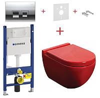 Унитаз NEWARC Modern красный (3823R)+инсталляция GEBERIT Duofix+кнопка 115.135.21.1