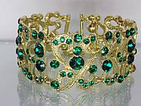 """Браслет """"Венеция - 1"""" с устойчивым золотым покрытием и качественными стразами (зелёными)."""