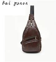 Стильный мужской рюкзак на одно плечо. Темно-коричневый