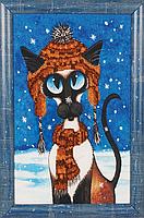 """Набор для вышивания бисером с рамкой """"Первый снег. Котик"""""""