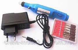 Дрель-ручка (фрезер 13000) для аппаратного маникюра и педикюра + набор фрез, синий, фото 2