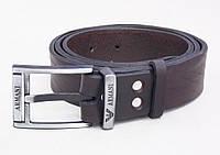 Коричневый мужской ремень Armani кожаный
