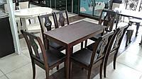 Комплект стол и 6 стульев ясень