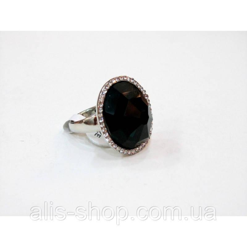 b564edd19c7c Эксклюзивное нарядное кольцо с крупным черным камнем в миниатюрных стразах  для ...
