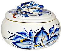 Шкатулка керамическая с росписью гжель круглая