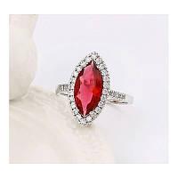 Эксклюзивное нарядное кольцо с красным камнем МАРКИЗ в миниатюрных страза 17 размер