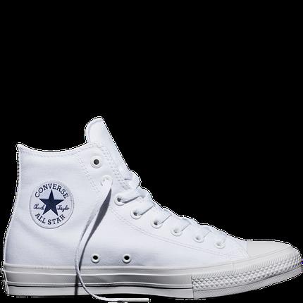 Кеды Converse All Star II Chuck Tailor Lunarlon высокие белые топ реплика, фото 2