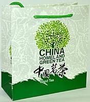 Картонный пакет с ручкам китайский зеленый