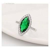 Эксклюзивное нарядное кольцо с зеленым камнем МАРКИЗ в миниатюрных страза 19 размер