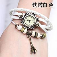 """Модные винтажные женские часы-браслет с подвеской """"Эйфелева башня"""" ,белые"""