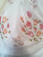 Батист тюль белая,  фотопринт букеты роз.