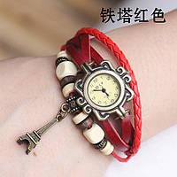 """Модные винтажные женские часы-браслет с подвеской """"Эйфелева башня"""" ,красные"""