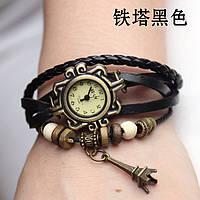 """Модные винтажные женские часы-браслет с подвеской """"Эйфелева башня"""" , черные"""