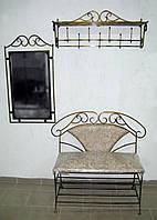 Комплект кованой мебели. Прихожая кованая №1: зеркало, вешалка, диван, фото 1