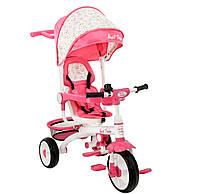 Детский стильный трехколесный велосипед розового цвета