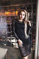 Обворожительное коктейльное гипюровое платье черное