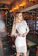 Обворожительное коктейльное гипюровое платье белое
