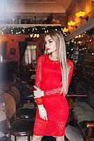 Обворожительное коктейльное гипюровое платье красное