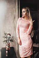 Обворожительное коктейльное гипюровое платье цвет пудры