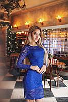 Обворожительное коктейльное гипюровое платье электрик