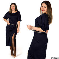 Темно-синее платье 15325, большого размера
