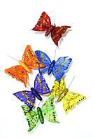 Бабочки декоративные из натуральных перьев 12см