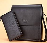 Мужская сумка + кошелек Polo Fanke. Вместе дешевле.Черная.