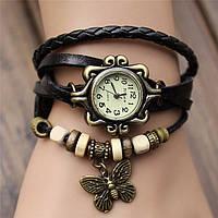"""Модные винтажные женские часы-браслет с подвеской """"Бабочка"""" , черные"""