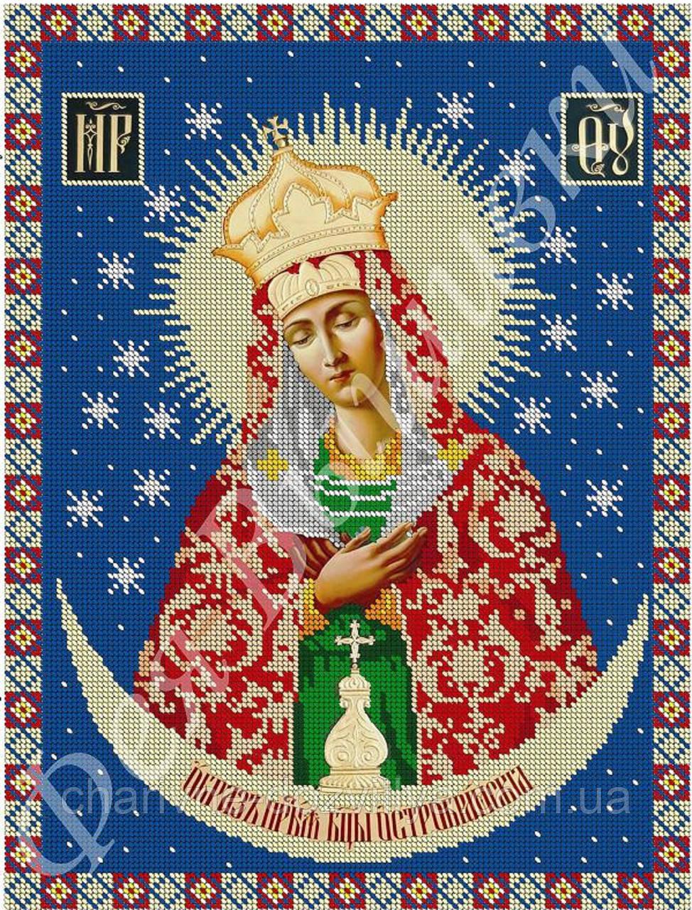 """Схема для вышивки бисером на габардине икона """"Богородица Остробрамская"""""""