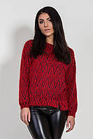 Стильный женский свитер красного цвета с абстрактным принтом. Модель 6368 Bessa.