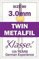 Иглы для бытовых швейных машин для шитья металлизированной нитью двойные № 80/11- 3мм