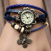 """Модные винтажные женские часы-браслет с подвеской """"Бабочка"""" , синие"""