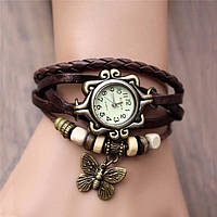 """Модные винтажные женские часы-браслет с подвеской """"Бабочка"""" , коричневые"""