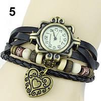 """Модные винтажные женские часы-браслет с подвеской """"Сердце"""" , черные"""
