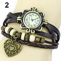 """Модные винтажные женские часы-браслет с подвеской """"Сердце"""" , коричневые"""