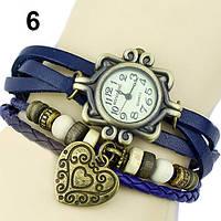 """Модные винтажные женские часы-браслет с подвеской """"Сердце"""" , синие"""