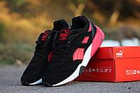 Мужские кроссовки Puma Trinomiс, натуральная замша, черные с красным / кроссовки мужские Пума Триномик