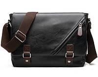 Стильная мужская сумка-мессенджер. Размер 34-29-12 см.Черная.