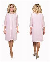 Красивый нарядный женский костюм платье+кардиган хорошего качества Феличита р 46.48.50.52