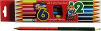 Цветные карандаши двухсторонние 12 цветов Little President