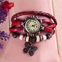 """Модные винтажные женские часы-браслет с подвеской """"Бабочка"""" , красные"""