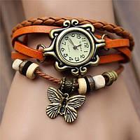 """Модные винтажные женские часы-браслет с подвеской """"Бабочка"""" , оранжевые"""