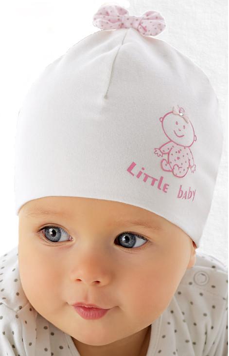 Модна біла шапочка для дівчинки лапули від Marika Польща