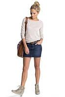 Короткая джинсовая юбка с поясом