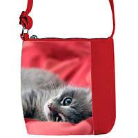 Красная сумка для девочки Кошка спит