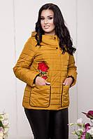 Женская эффектная курточка больших размеров с вышивкой (рр 50-64) Весна 2017, разные цвета