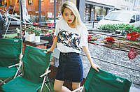 Стильная короткая джинсовая юбка